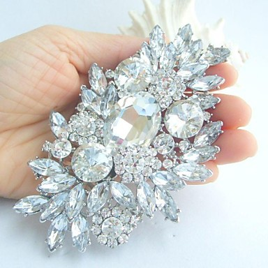 cheap Brooches-Women's Crystal Brooches Crystal Rhinestone Flower Ladies Fashion fancy Brooch Jewelry White Silver For Wedding Party Special Occasion Birthday Engagement Gift