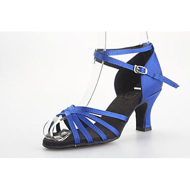 baratos Shall We® Sapatos de Dança-Mulheres Sapatos de Dança Cetim Sapatos de Dança Latina / Dança de Salão Sandália Salto Carretel Não Personalizável Amêndoa / Preto / Azul / Couro / EU39
