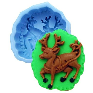 Рождество лось олень Fondant торт шоколадный силиконовые формы торт украшение инструменты, l10cm * w8.5cm * h4cm