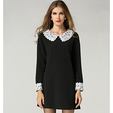 Women\'s Solid Black Dress , Casual/Lace/Plus Sizes Peter Pan Collar ...