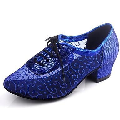 baratos Shall We® Sapatos de Dança-Mulheres Sintéticos Sapatos de Dança Moderna / Dança de Salão Lantejoulas Salto Salto Baixo Não Personalizável Púrpura / Azul Claro / Azul Real / EU41