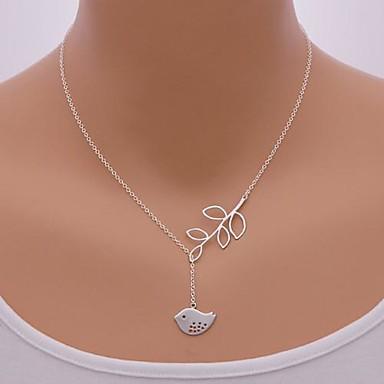 Damen Vogel Blattform Anhängerketten  -  nette Art Einstellbar Tier Silber Modische Halsketten Für Party Alltag Normal