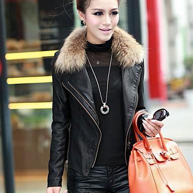 32afb38cf8 πραγματική γούνα συνθετικό δερμάτινο μπουφάν κοντό παλτό γυναικών ...
