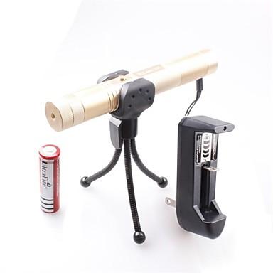 -E 0670 se poate încuia Muti-imagine reglabil-chibrit aprins verde laser pointer (5 mW, 532nm, 1x18650, auriu)