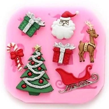 kerstboom herten claus cadeau fondant taart gereedschappen cakevorm, bakken tool