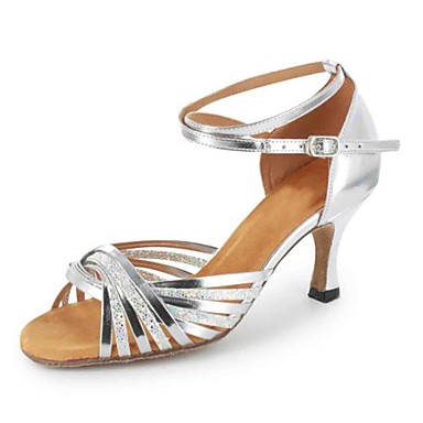 Women's Latin Shoes Heel Leatherette Sandal Buckle Customized Heel Shoes Customizable Dance Shoes Silver / Brown / Gold 06f2da