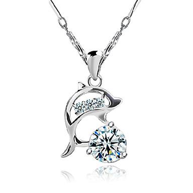 Women's Dolphin Animal Shape Luxury Pendant Necklace Sterling Silver Zircon Cubic Zirconia Pendant Necklace Costume Jewelry