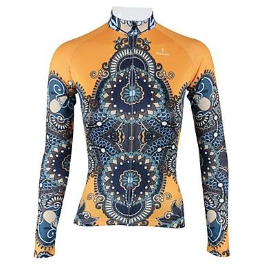 ILPALADINO Dames Lange mouw Wielrenshirt - Geel Fietsen Shirt, Sneldrogend, Ademend
