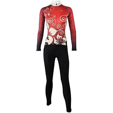 ILPALADINO Жен. Длинный рукав Велокофты и лосины - Красный Цветочные / ботанический Велоспорт Наборы одежды, Быстровысыхающий, Дышащий