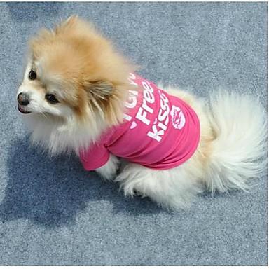 Pisici Câine Tricou Îmbrăcăminte Câini Literă & Număr Trandafiriu Bumbac Costume Pentru animale de companie Pentru femei Draguț