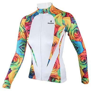 ILPALADINO Dames Lange mouw Wielrenshirt - Wit Flora / Botanisch Fietsen Shirt, Sneldrogend, Ademend