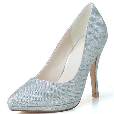 Pentru femei Pantofi Luciu Primăvară Vară Toc Stilat pentru Nuntă Party & Seară Negru Argintiu Auriu