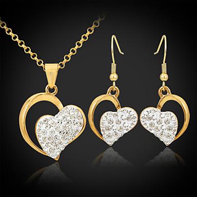 Damen Krystall / Strass / vergoldet Herz Schmuck-Set Ohrringe / Halsketten - Einzigartiges Design / Liebe / Elegant Golden Schmuckset /