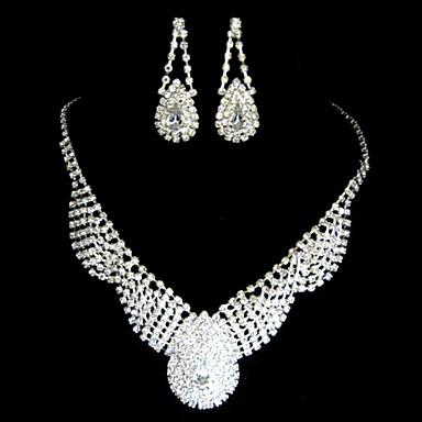 aliaj superba cu set pietre cehă nunta bijuterii de mireasă, inclusiv colier și cercei