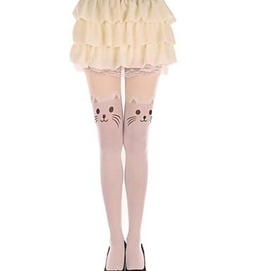 Sokker og Strømpebukser Lårhøye Sokker Søt Lolita Lolita Dame Lolita-tilbehør Katt Dyr Strømper Fløyel Halloween-kostymer / Høy Elastisitet