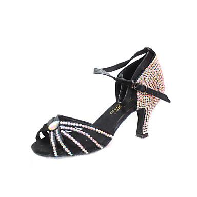 Women's Latin Ballroom Satin Heel Rhinestone Buckle Stiletto Heel Black Bronze 3 - 3 3/4inch Non Customizable