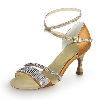 Damă Latin Sclipici Spumant Satin Sandale Cristal Toc Flared Bronzat Negru Argintiu 7.5cm NePersonalizabili