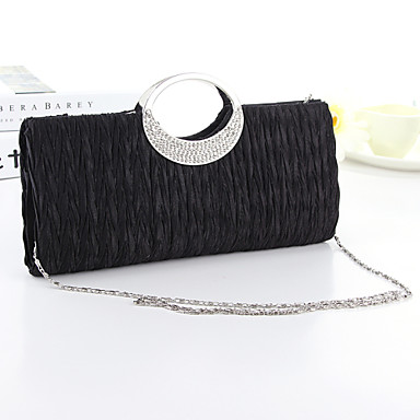 Women's Bags Silk Evening Bag Crystal / Rhinestone for Event / Party White / Black / Fuchsia