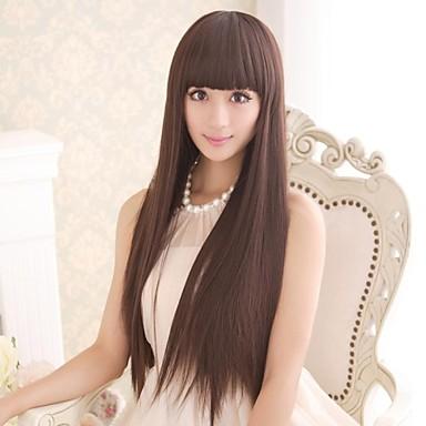 langt brunt hår