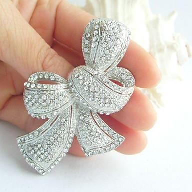 vrouwen trendy legering zilver-tone strass kristal bowknot bruiloft bruids broche