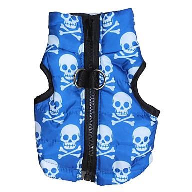 Katze Hund Mäntel Weste Hundekleidung Totenkopf Motiv Blau Terylen Kostüm Für Haustiere Herrn Damen warm halten