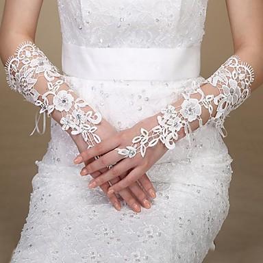 Хлопок До запястья Перчатка Кулоны Стиль Свадебные перчатки With Вышивка Однотонные