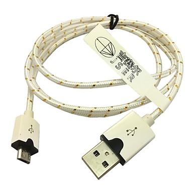 1м плетеные ткани Micro USB адаптер синхронизации зарядный кабель для Samsung Galaxy S3 / S4 Сони LG (белый)