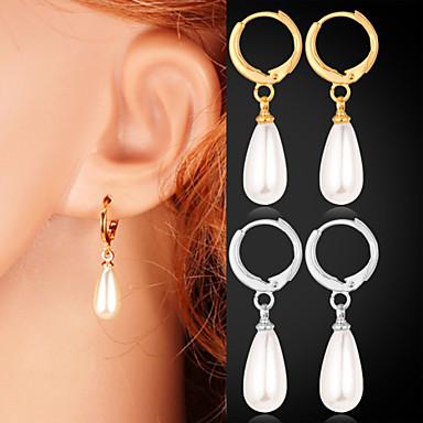 Damen Weiß Weiß Ohrstecker Tropfen-Ohrringe - Künstliche Perle Gold / Silber Für