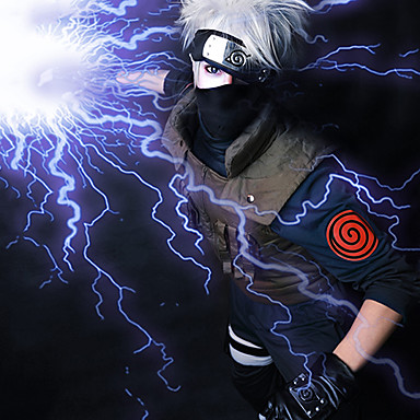 Naruto Hatake Kakashi Per Uomo 14 Pollice Tessuno Resistente A Calore Grigio Anime Parrucche Cosplay #02345589