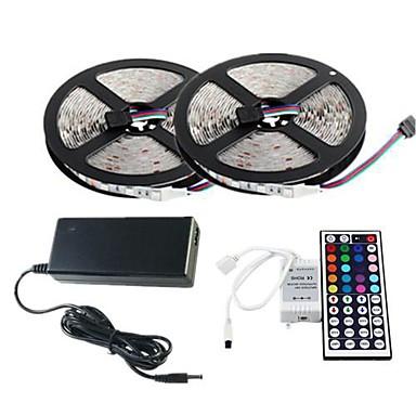 お買い得  LEDストリップライト-zdm 2x5mライトセット60pcs /メートル2835 rgb smdは、44key IRコントローラ12v 3aデスクトップ電源ソフトライトストリップキット
