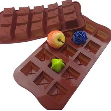 15 delikli kare şeklinde pasta buz jöle çikolata kalıpları, silikon 21 × 10.5 × 2.5 cm (8.3 x 4.1 x 1.0inch)