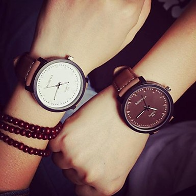 Men's Women's Couple's Fashion Watch Quartz Casual Watch Leather Band Casual Black Brown