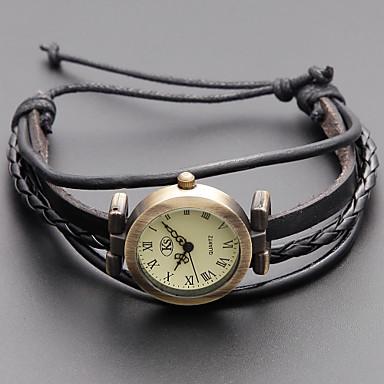 Damen Quartz Armband-Uhr Japanisch Armbanduhren für den Alltag Echtes Leder Band Retro / Böhmische / Modisch Schwarz / Khaki