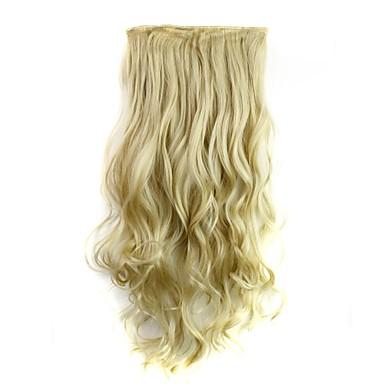 economico Extension di capelli sintetici-Estensioni sintetiche Riccio Classico Capelli sintetici 24 pollice Estensione capelli Gancio Biondo Per donna Quotidiano / Senza tappo
