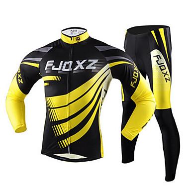 FJQXZ Erkek Uzun Kollu Bisiklet Taytı - Sarı Bisiklet Bisiklet Tayt Forma Giysi Setleri, Hızlı Kuruma, Ultravioleye Karşı Dayanıklı,