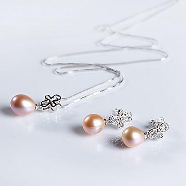 Κοσμήματα Σετ Γυναικεία Ειδική Περίσταση Σετ Κοσμημάτων Ασήμι Στερλίνας Μαργαριταρένια Cercei / Κολιέ Ασημί