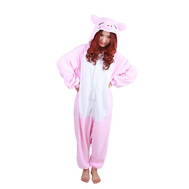 Пижамы кигуруми Свинка Цельные пижамы Костюм Флис Розовый Косплей Для Взрослые Нижнее и ночное белье животных Мультфильм День всех святых