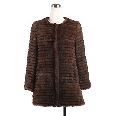 a75b79de7c03 γούνινο παλτό 3 4 μανίκι γιακά φυσικό πλεκτό γούνα βιζόν περιστασιακό παλτό