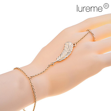 Women's Lureme Gold Leaf Ring Bracelet