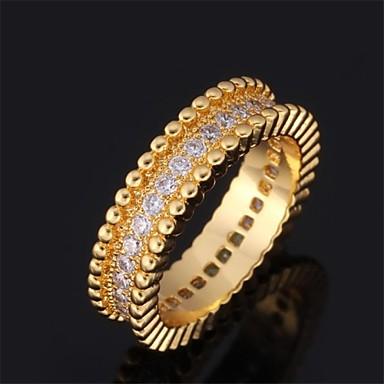 Kadın's Çift Yüzükleri Evlilik Yüzükleri Kübik Zirconia Doğumtaşları Zirkon Kübik Zirconia Altın Kaplama Circle Shape Mücevher Düğün
