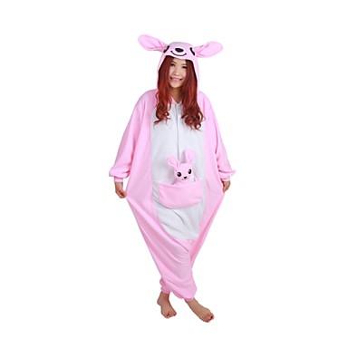 Kigurumi Pijamale Cangur Leotard/Onesie Festival/Sărbătoare Sleepwear Pentru Animale Halloween Roz Peteci Lână polară Kigurumi Pentru