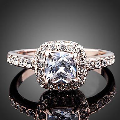 Women's Statement Rings Fashion Rose Gold Zircon Cubic Zirconia Imitation Diamond Alloy Jewelry Wedding Party Engagement