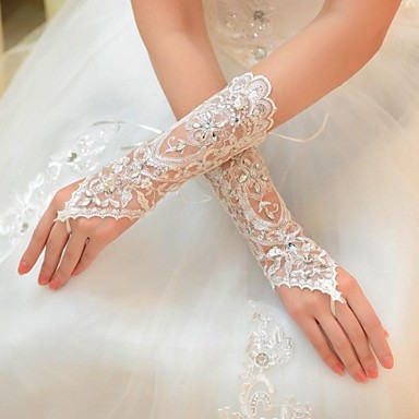 Tulle Elbow Length Glove Bridal Gloves With Rhinestone