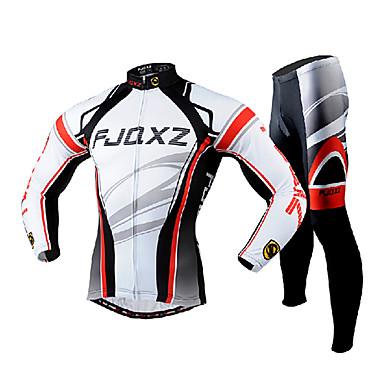 FJQXZ رجالي كم طويل جورسيه مع فيزون للدراجة أبيض دراجة هوائية أطقم ملابس رياضية متنفس 3D وسادة سريع جاف الأشعة فوق البنفسجية مقاوم الجيب الخلفي الشتاء رياضات بوليستر شبكة منحني / قابل للبسط