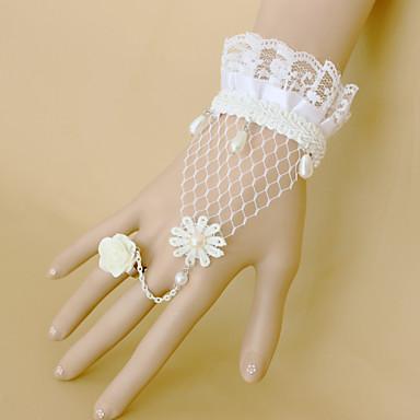 mode witte roos kant parel armband ring set klassieke vrouwelijke stijl