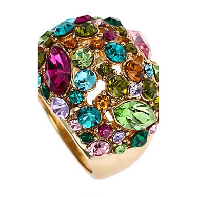 Damen Luxus Roségold / Strass / 18K Gold Statement-Ring - Luxus / Erklärung / Modisch Farbbildschirm Ring Für Party