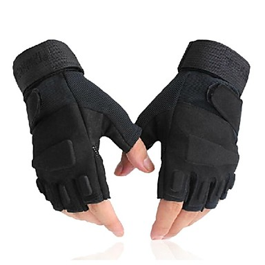 billige Sykkelhansker-Sykkelhansker Taktisk Pustende Anti-Skli Svettereduserende Halv Finger Aktivitets- / Sportshansker Elastan Terry Cloth Fjellsykling Svart til Voksne Utendørs