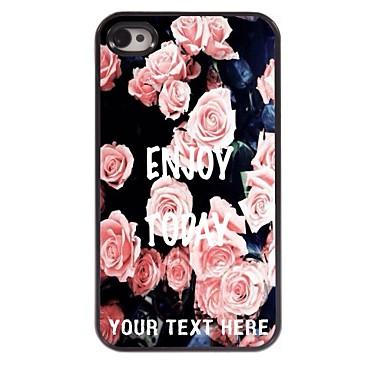 caz telefon personalizate - roz elegant trandafir carcasa de metal de design pentru iPhone 4 / 4s
