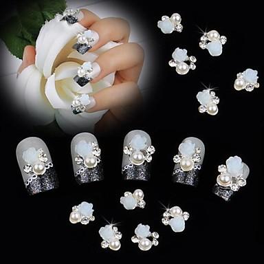 10pcs White 3D Rose Flower Pearl Rhinestone DIY Accessories Nail Art Decoration