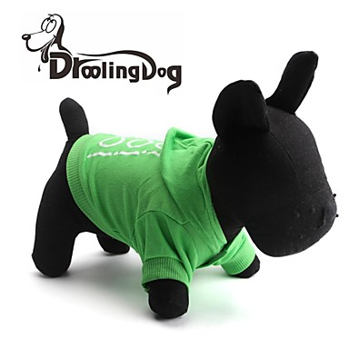 Dog / Cat Hoodie Green Spring/Fall Letter & Number